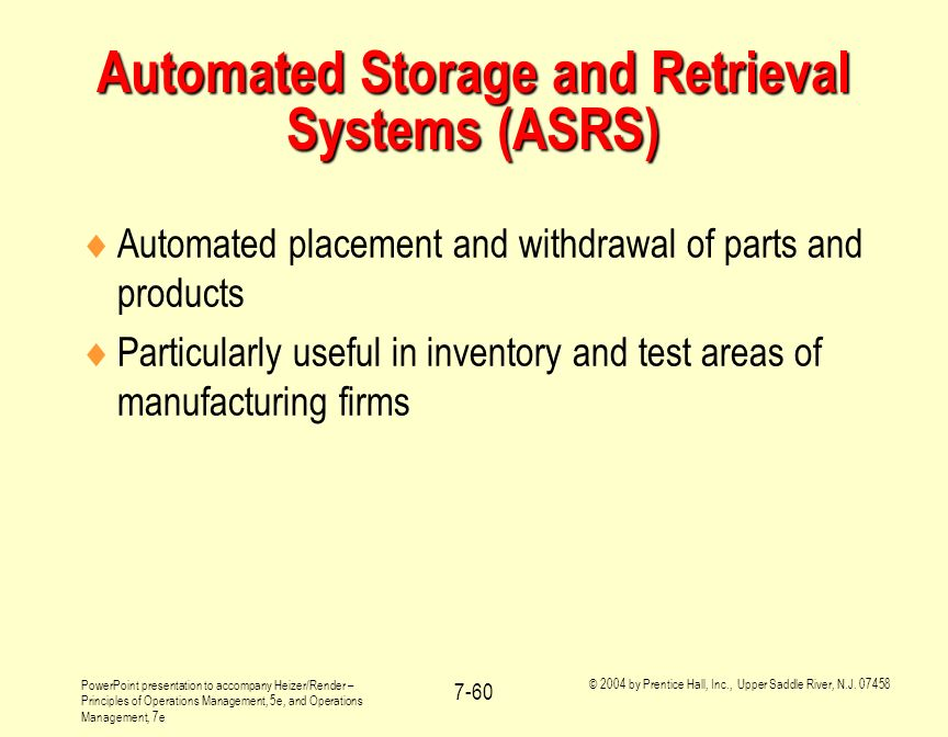 Automated Storage and Retrieval Systems (ASRS)