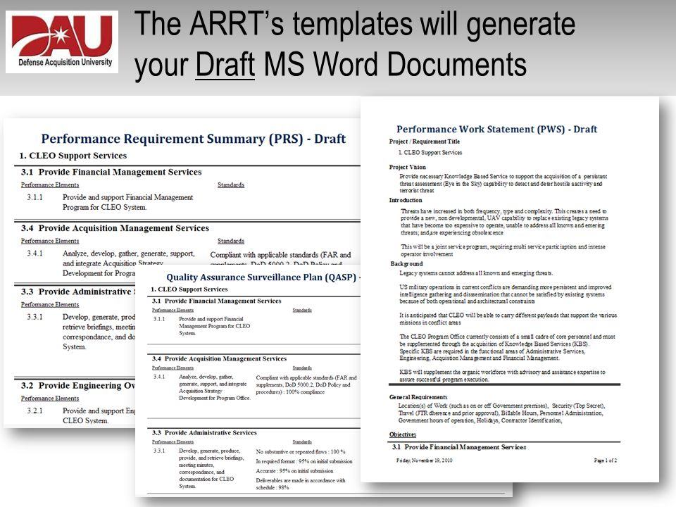 The ARRT's templates will generate your Draft MS Word Documents