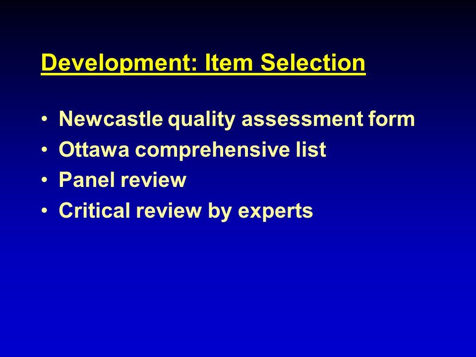 Development: Item Selection