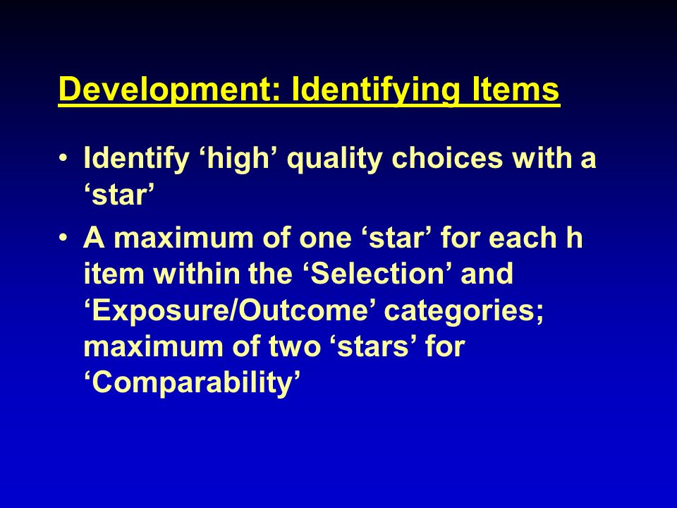 Development: Identifying Items