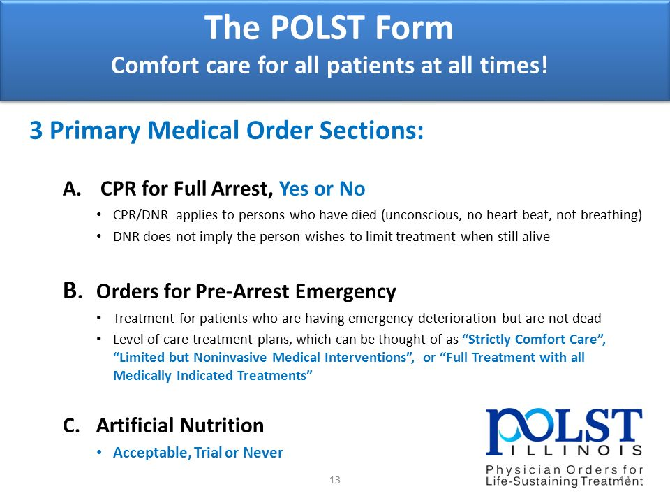 Physician Orders For Life Sustaining Treatment (Polst): - Ppt Download