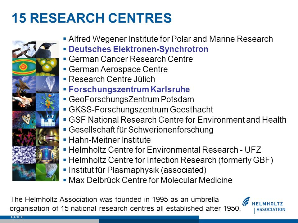 15 RESEARCH CENTRES Alfred Wegener Institute for Polar and Marine Research. Deutsches Elektronen-Synchrotron.