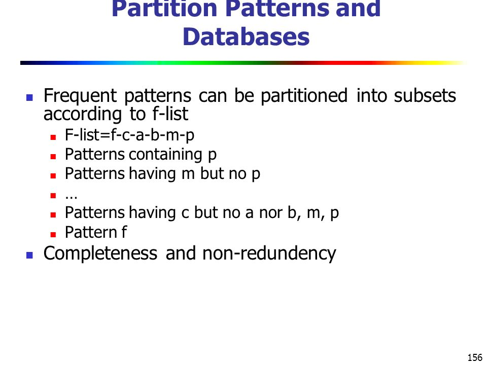 Partition Patterns and Databases