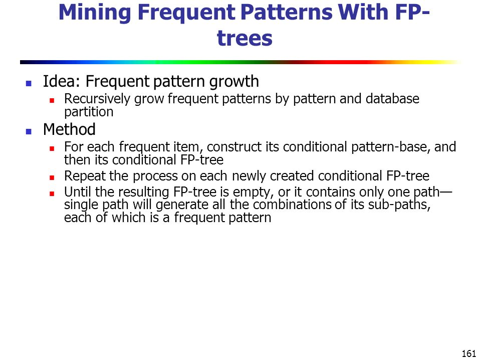 Mining Frequent Patterns With FP-trees