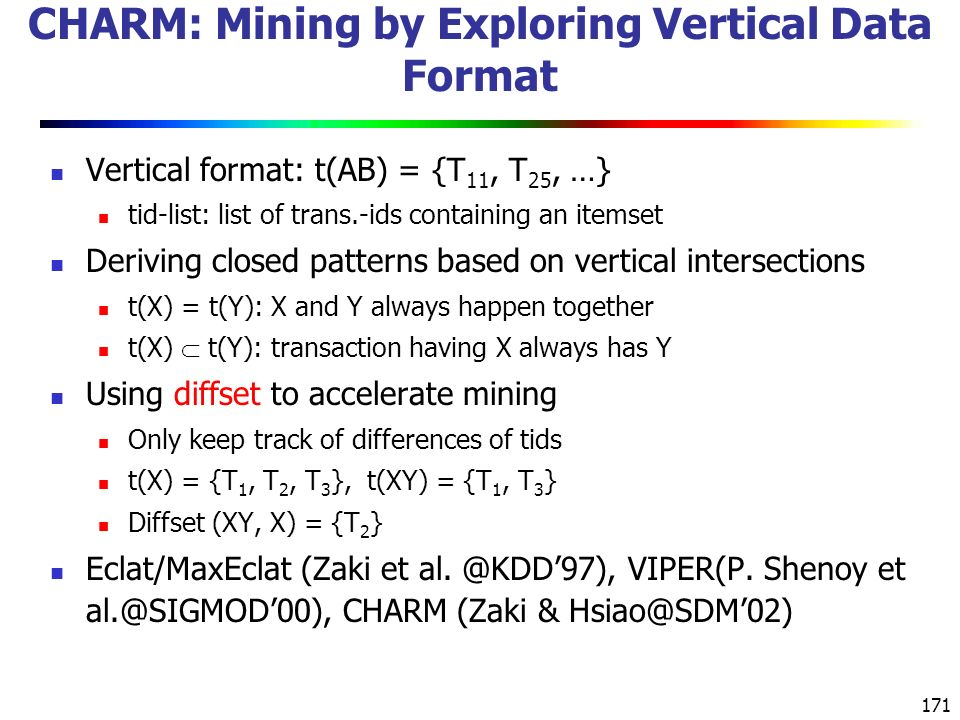 CHARM: Mining by Exploring Vertical Data Format
