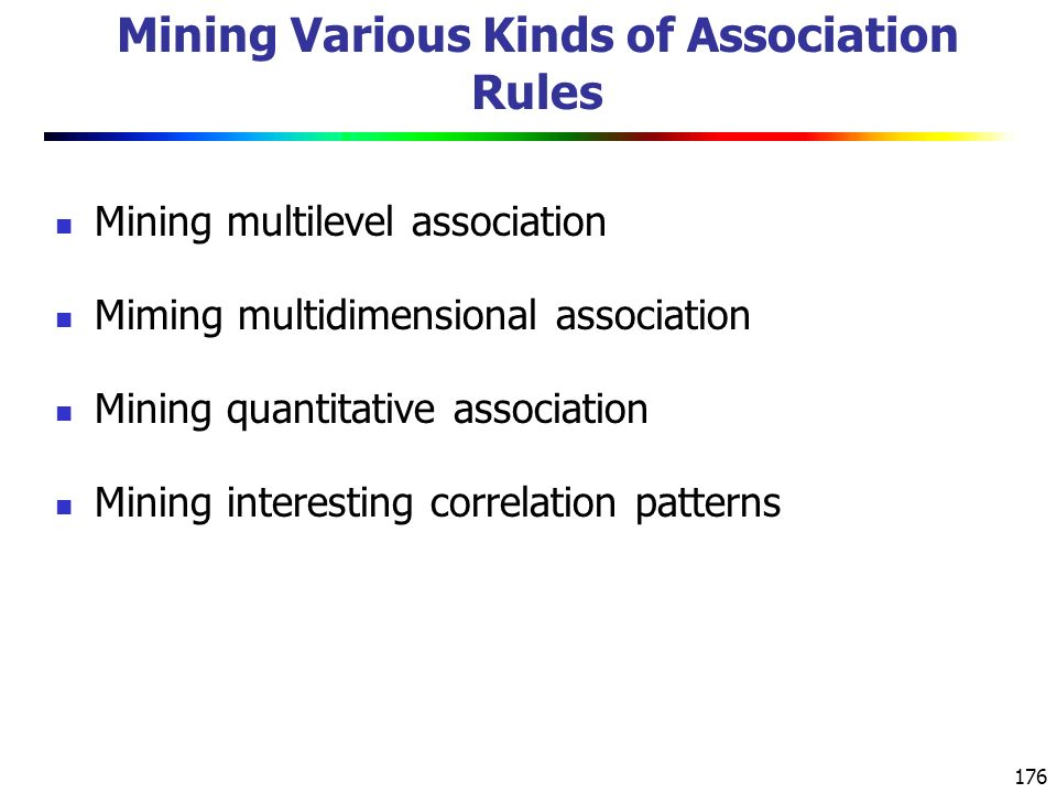Mining Various Kinds of Association Rules