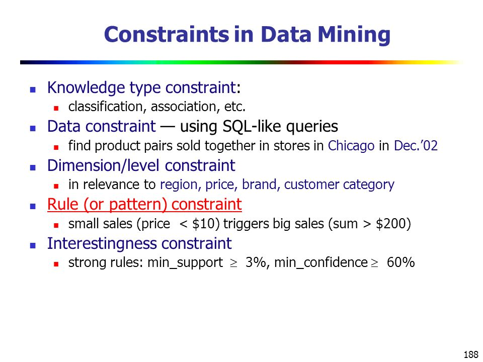 Constraints in Data Mining