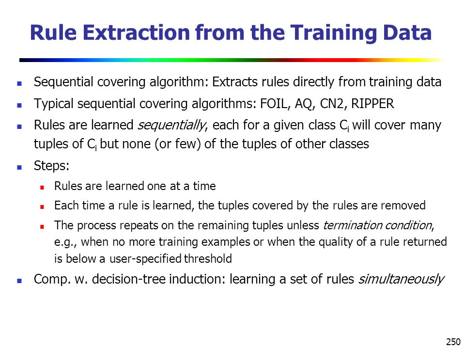 Rule Extraction from the Training Data