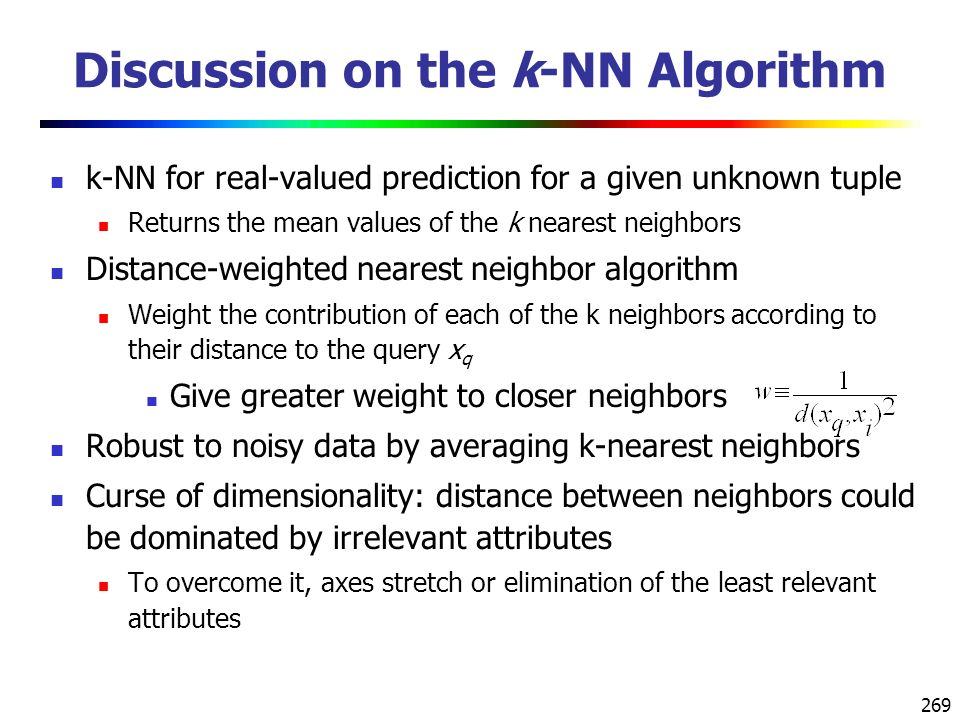 Discussion on the k-NN Algorithm