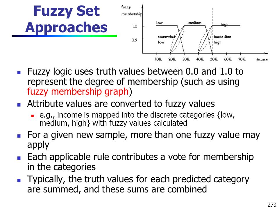 Fuzzy Set Approaches Fuzzy logic uses truth values between 0.0 and 1.0 to represent the degree of membership (such as using fuzzy membership graph)