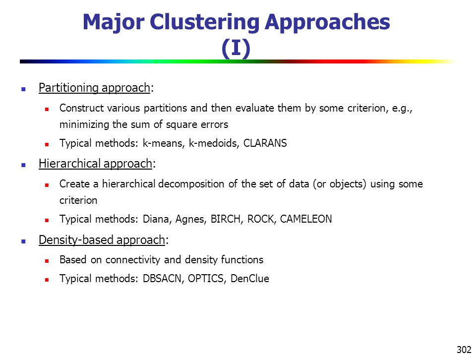 Major Clustering Approaches (I)