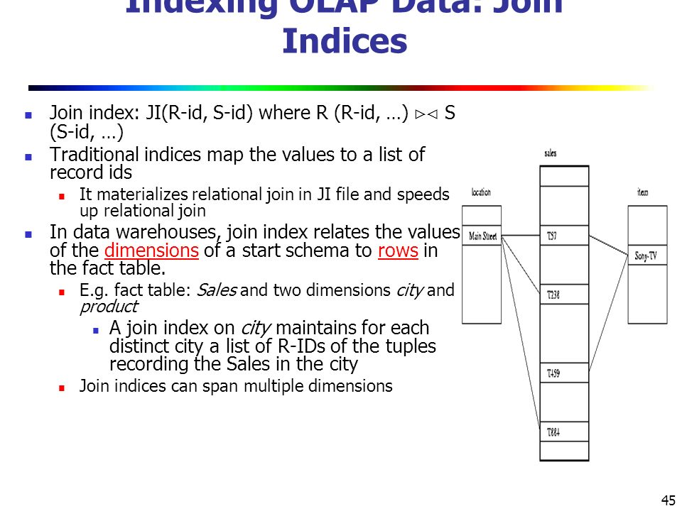 Indexing OLAP Data: Join Indices