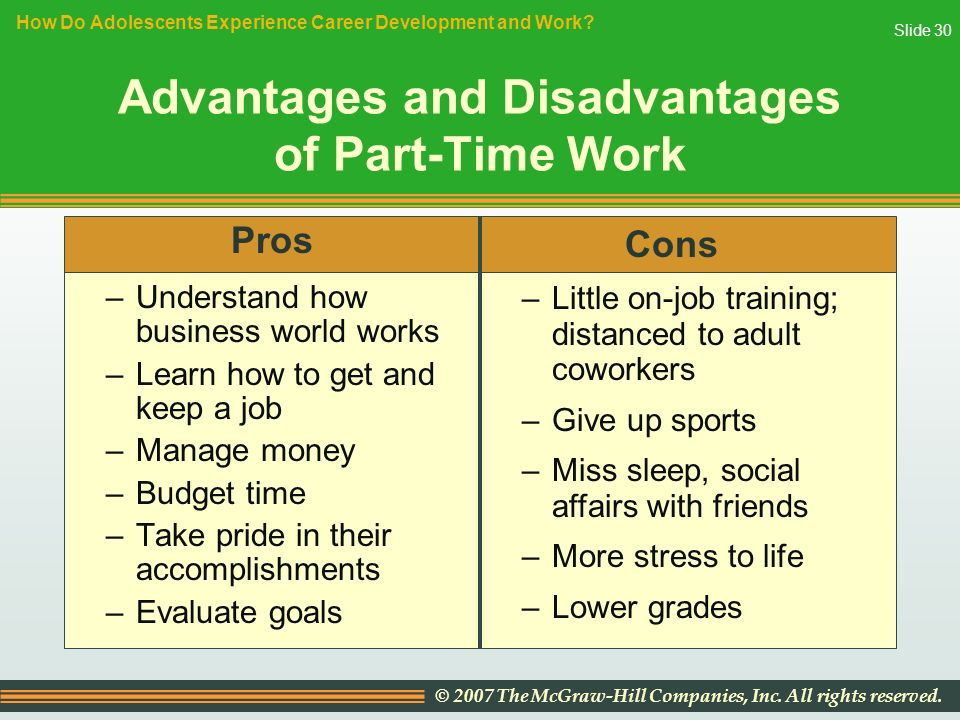 disadvantages of part time job You've heard all about it, but how can you make job sharing serve your business   a full-time commitment or cannot easily be divided into two part-time jobs   have run job-sharing programs feel that the advantages outweigh the drawbacks.