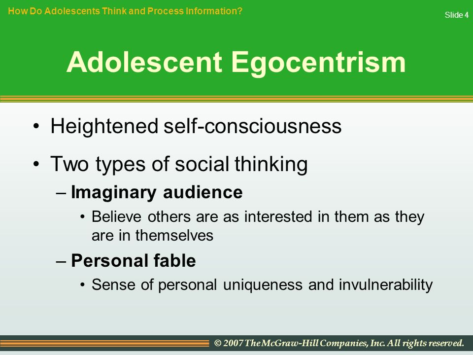adolescent thinking New intellectual powers piaget thought adolescents begin to reach formal  operational thought in piaget's theory formal operational thought is the 4th & final .