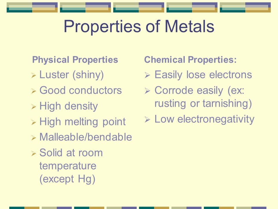 Properties of Metals Luster (shiny) Good conductors High density