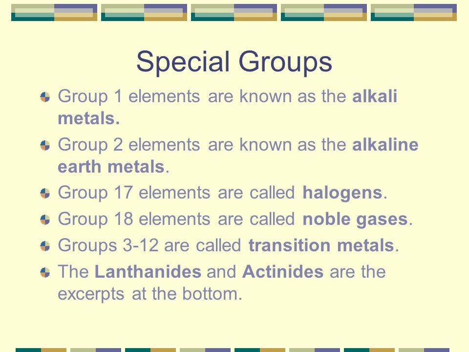 Special Groups Group 1 elements are known as the alkali metals.