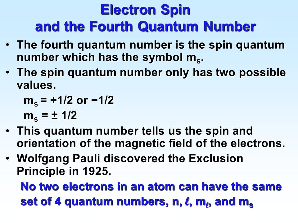 Electron Spin and the Fourth Quantum Number
