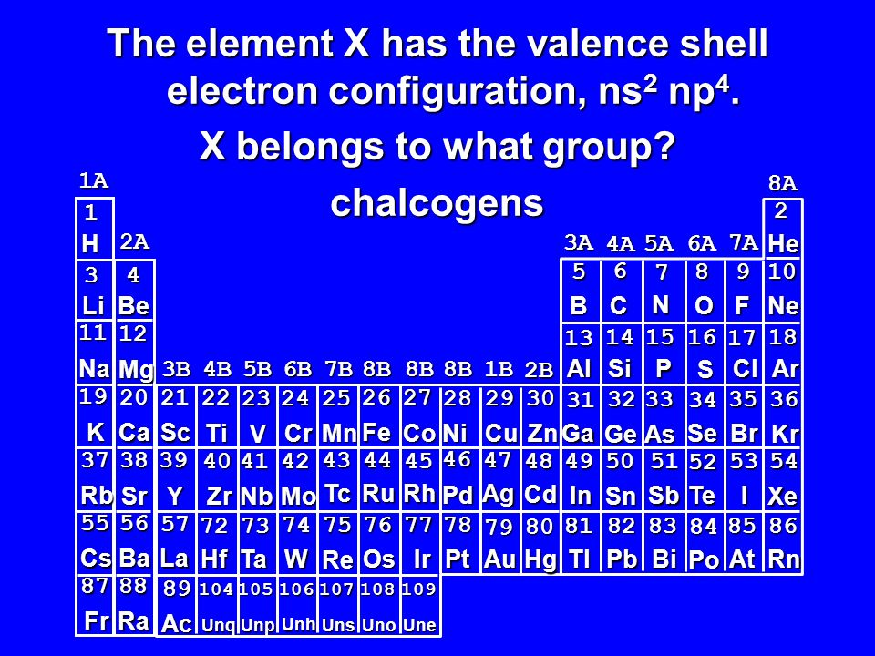 The element X has the valence shell electron configuration, ns2 np4.