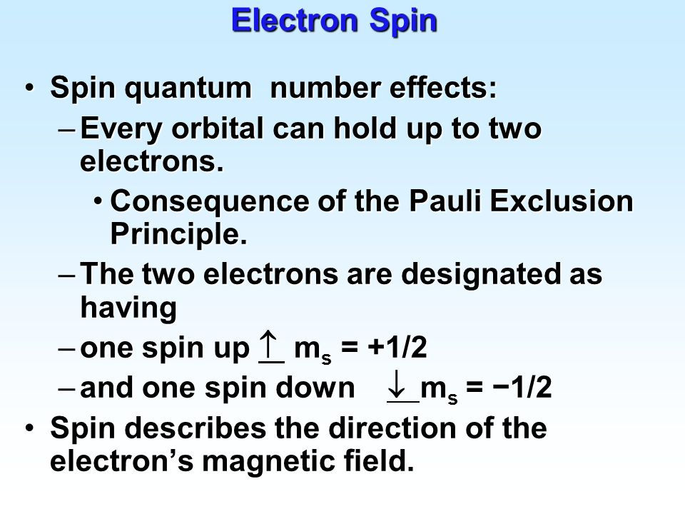 Electron Spin Spin quantum number effects: