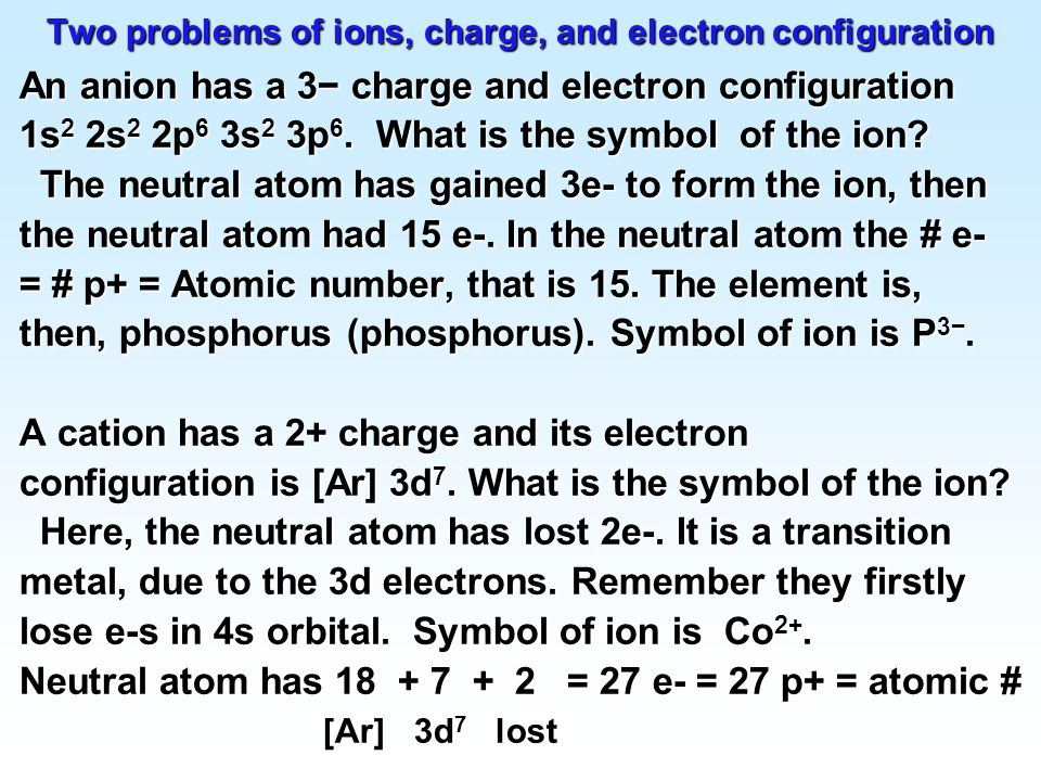 Two problems of ions, charge, and electron configuration