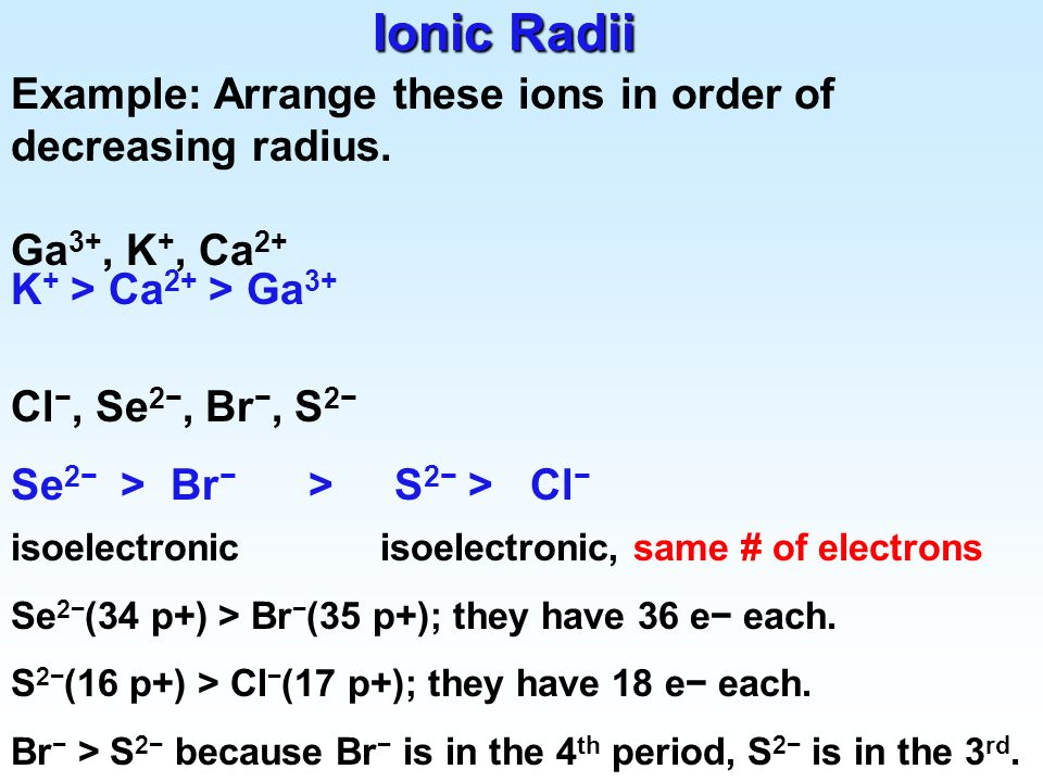 Ionic Radii Example: Arrange these ions in order of decreasing radius.