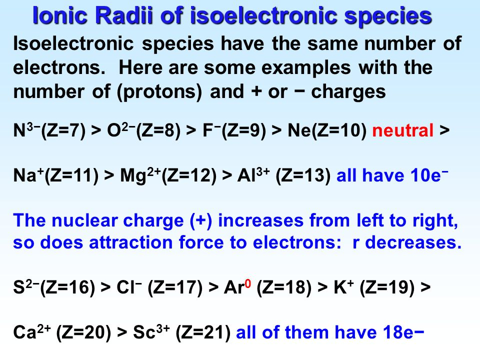 Ionic Radii of isoelectronic species