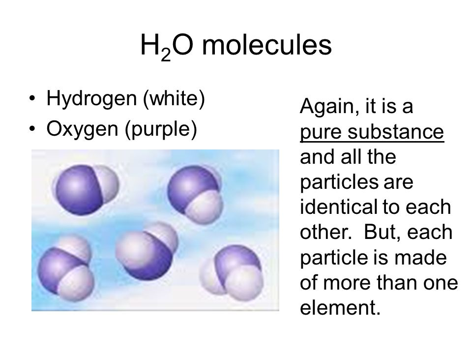 H2O molecules Hydrogen (white)