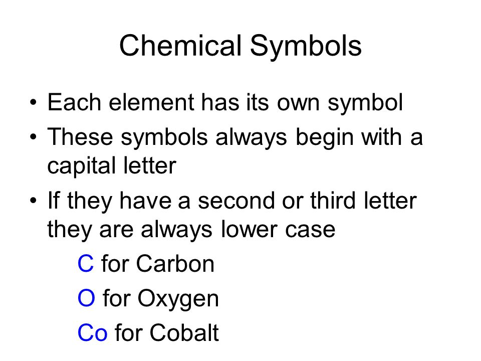 Chemical Symbols Each element has its own symbol