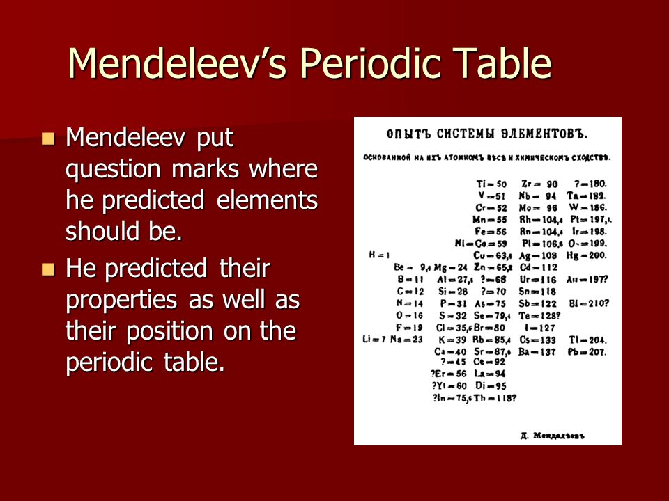 Periodic Table mendeleevs periodic table helped predict properties of : Organizing the Elements - ppt video online download