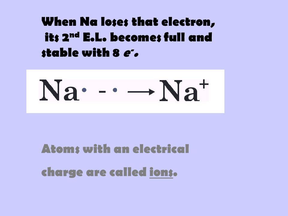 When Na loses that electron,
