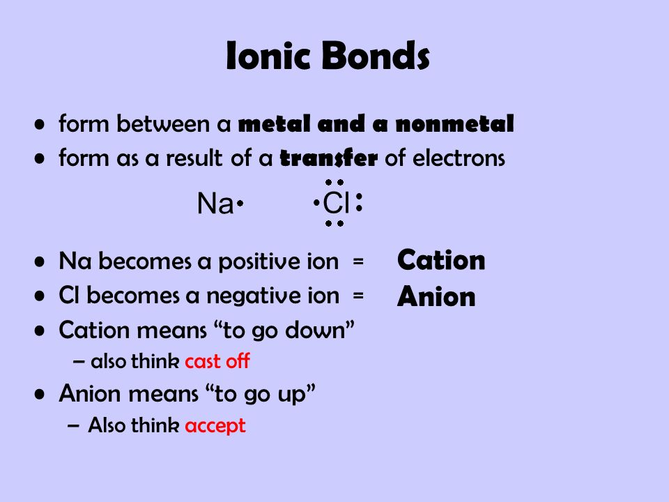 Ionic Bonds Na Cl Cation Anion form between a metal and a nonmetal
