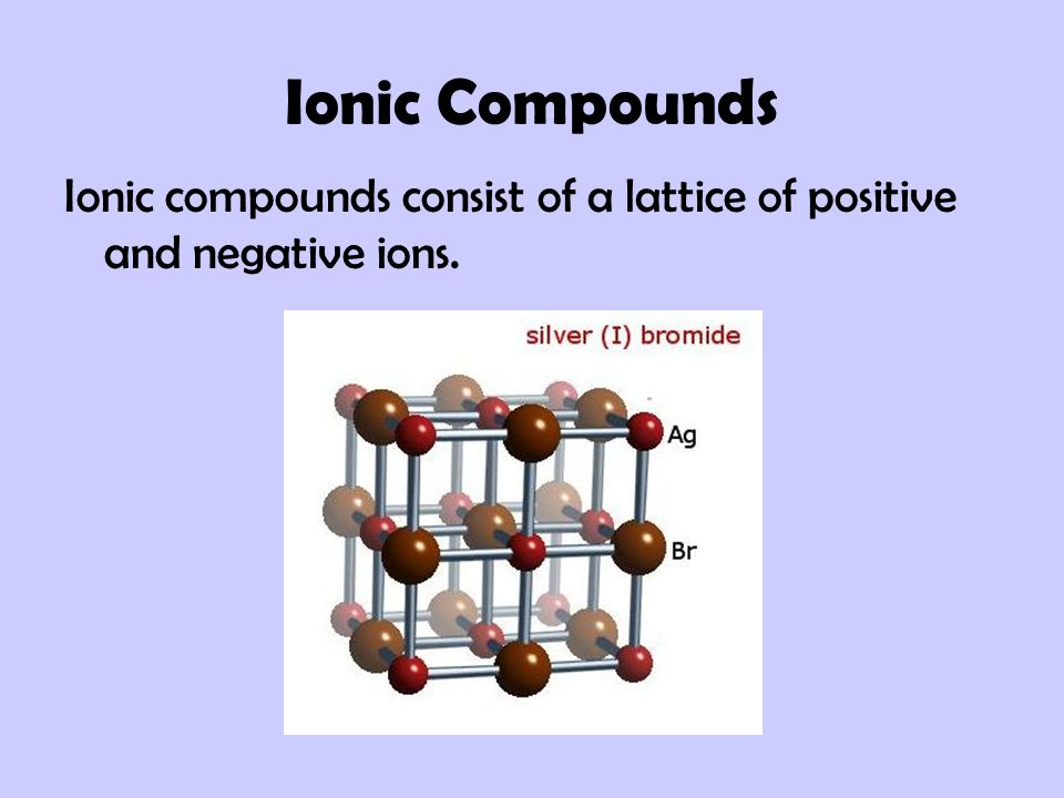 Ionic Compounds Ionic compounds consist of a lattice of positive and negative ions.