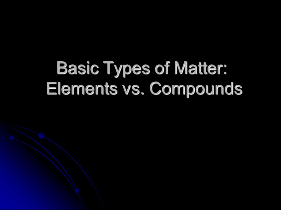 Basic Types of Matter: Elements vs. Compounds