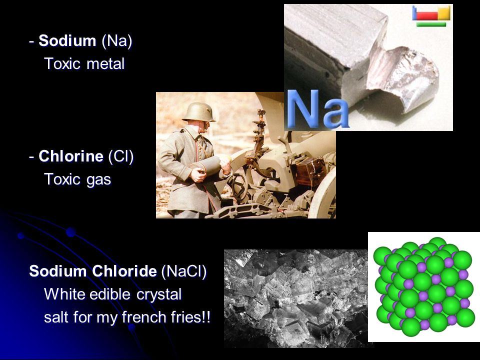 - Sodium (Na) Toxic metal. - Chlorine (Cl) Toxic gas. Sodium Chloride (NaCl) White edible crystal.