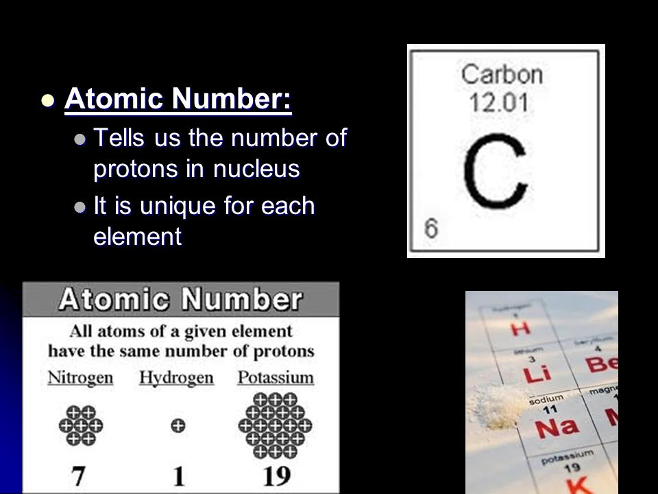 Atomic Number: Tells us the number of protons in nucleus