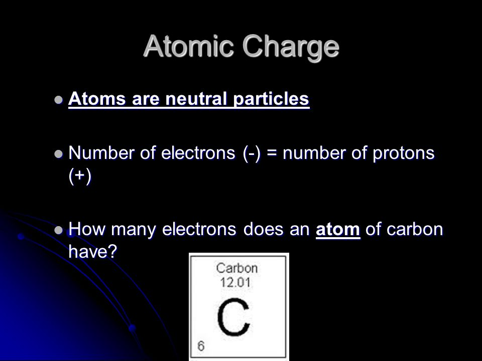 Atomic Charge Atoms are neutral particles