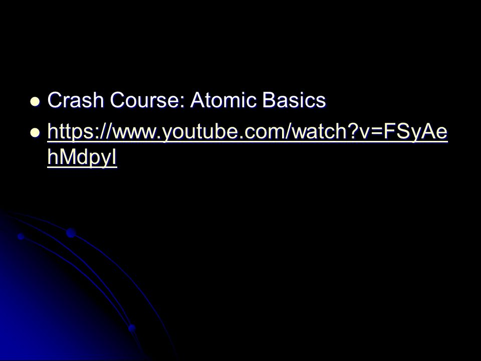 Crash Course: Atomic Basics