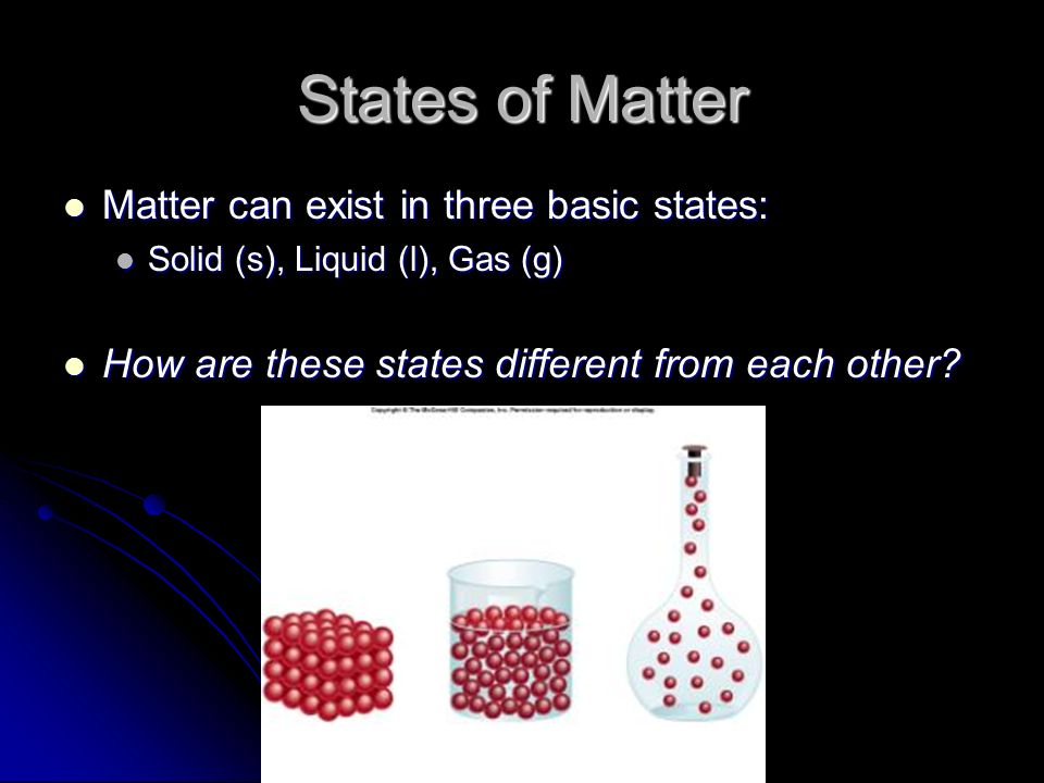 States of Matter Matter can exist in three basic states: