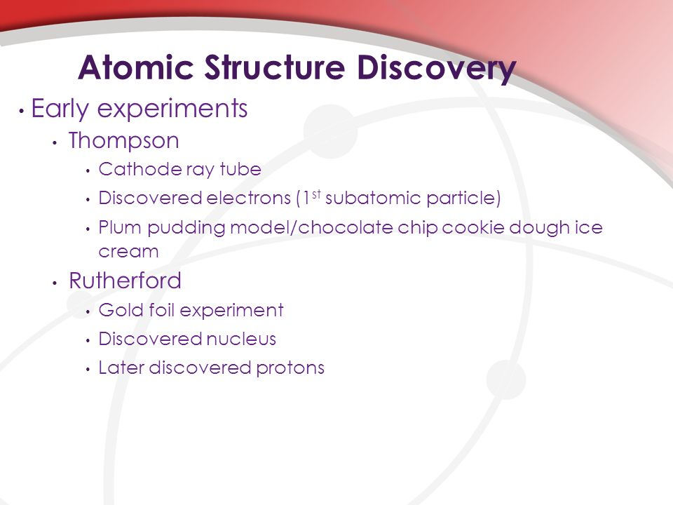 atomic structure experiment Discovery of radioactivity like thomson's discovery of the electron, the discovery of radioactivity in uranium by french physicist henri becquerel in 1896 forced scientists to radically change their ideas about atomic structure.
