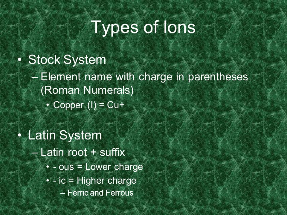 Types of Ions Stock System Latin System