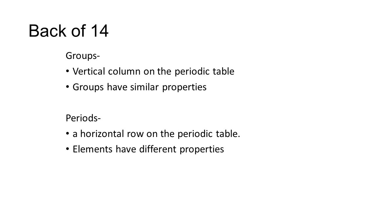Groups of the periodic table ppt download back of 14 groups vertical column on the periodic table gamestrikefo Choice Image