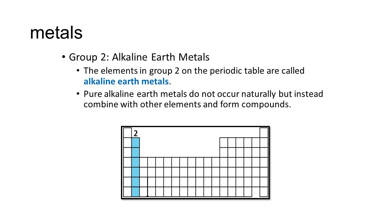 The periodic table ppt download metals group 2 alkaline earth metals gamestrikefo Gallery