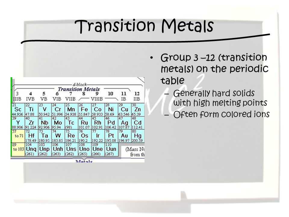 Transition Metals Group 3 –12 (transition metals) on the periodic table. Generally hard solids with high melting points.
