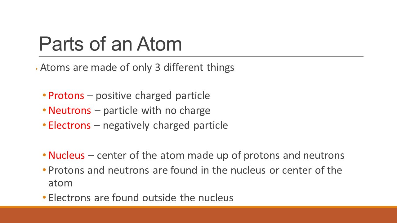 Atoms and the periodic table ppt video online download parts of an atom protons positive charged particle gamestrikefo Choice Image