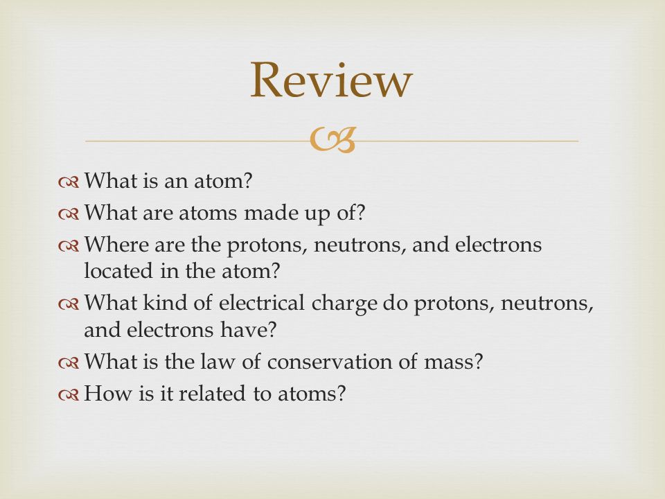 TodayS Agenda Bellringer What Is An Atom Review  Ppt Download