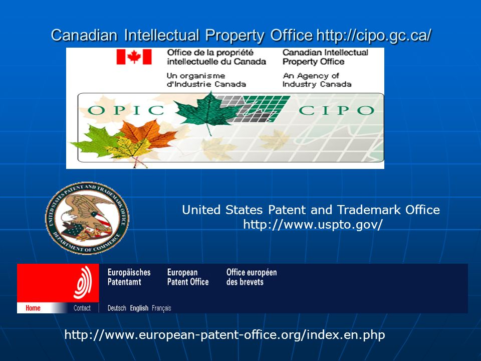 Canadian Intellectual Property Office http://cipo.gc.ca/