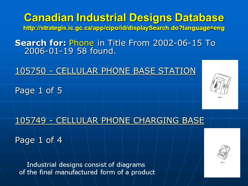 Canadian Industrial Designs Database http://strategis. ic. gc