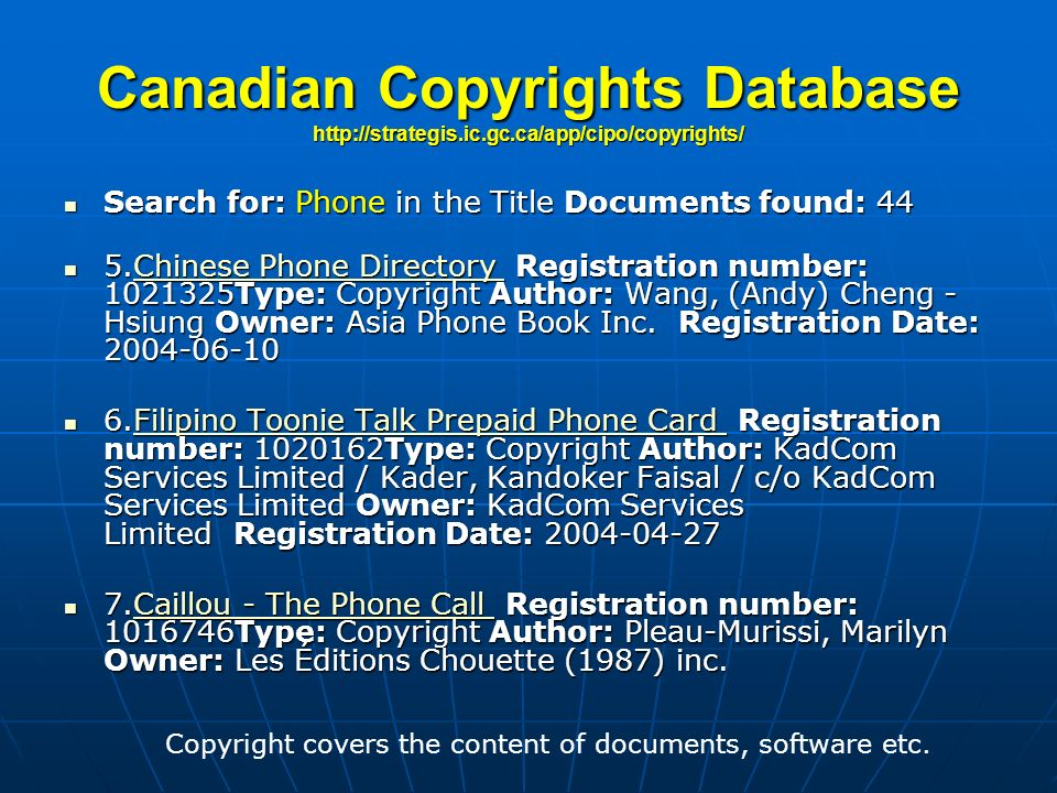 Copyright covers the content of documents, software etc.