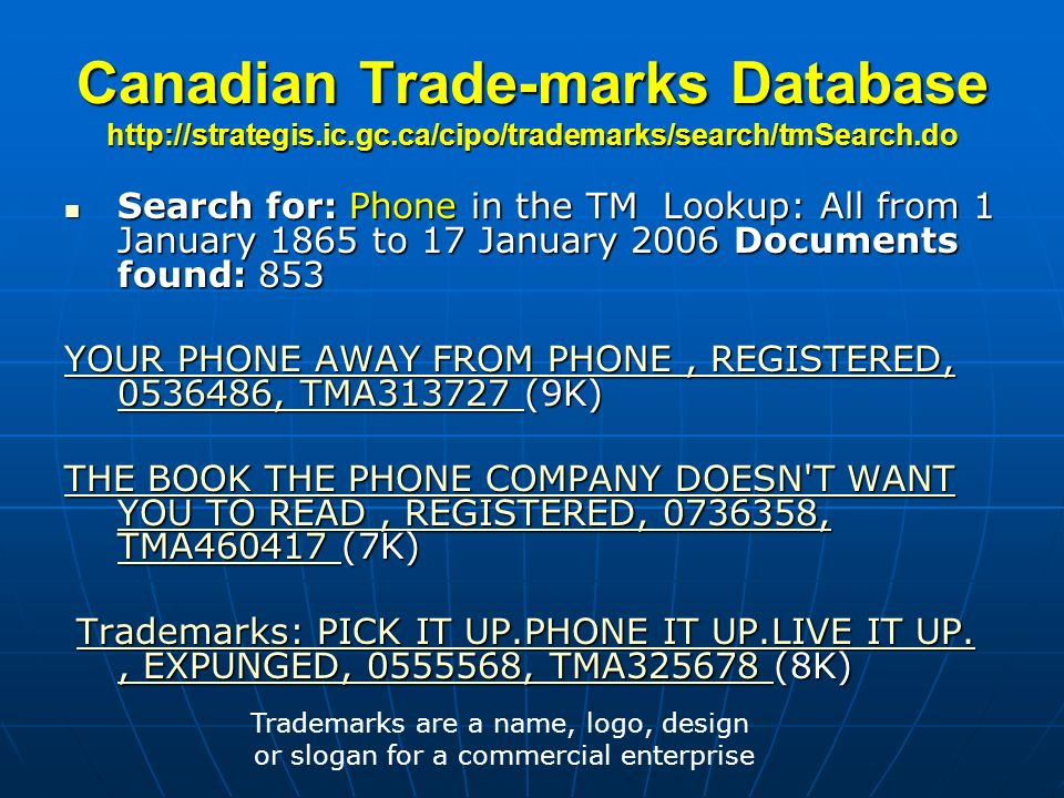 Canadian Trade-marks Database http://strategis. ic. gc