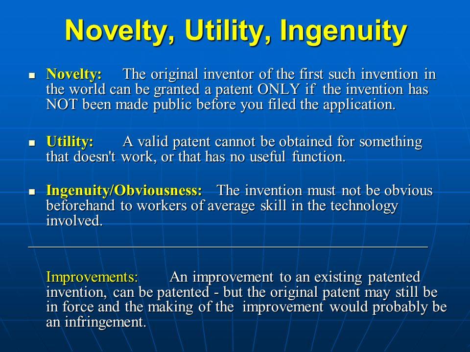 Novelty, Utility, Ingenuity